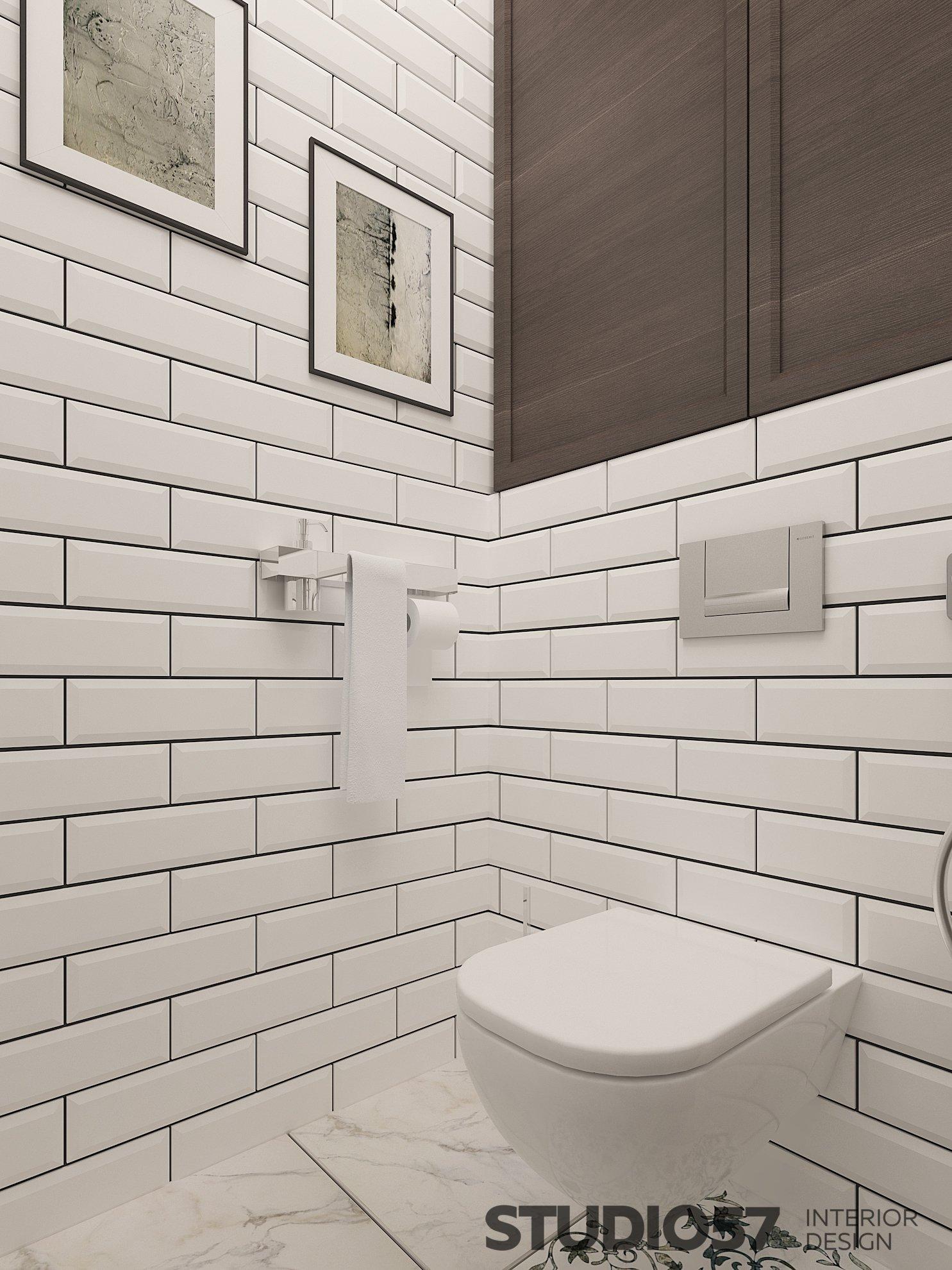 Дизайн туалета с белой прямоугольной плиткой