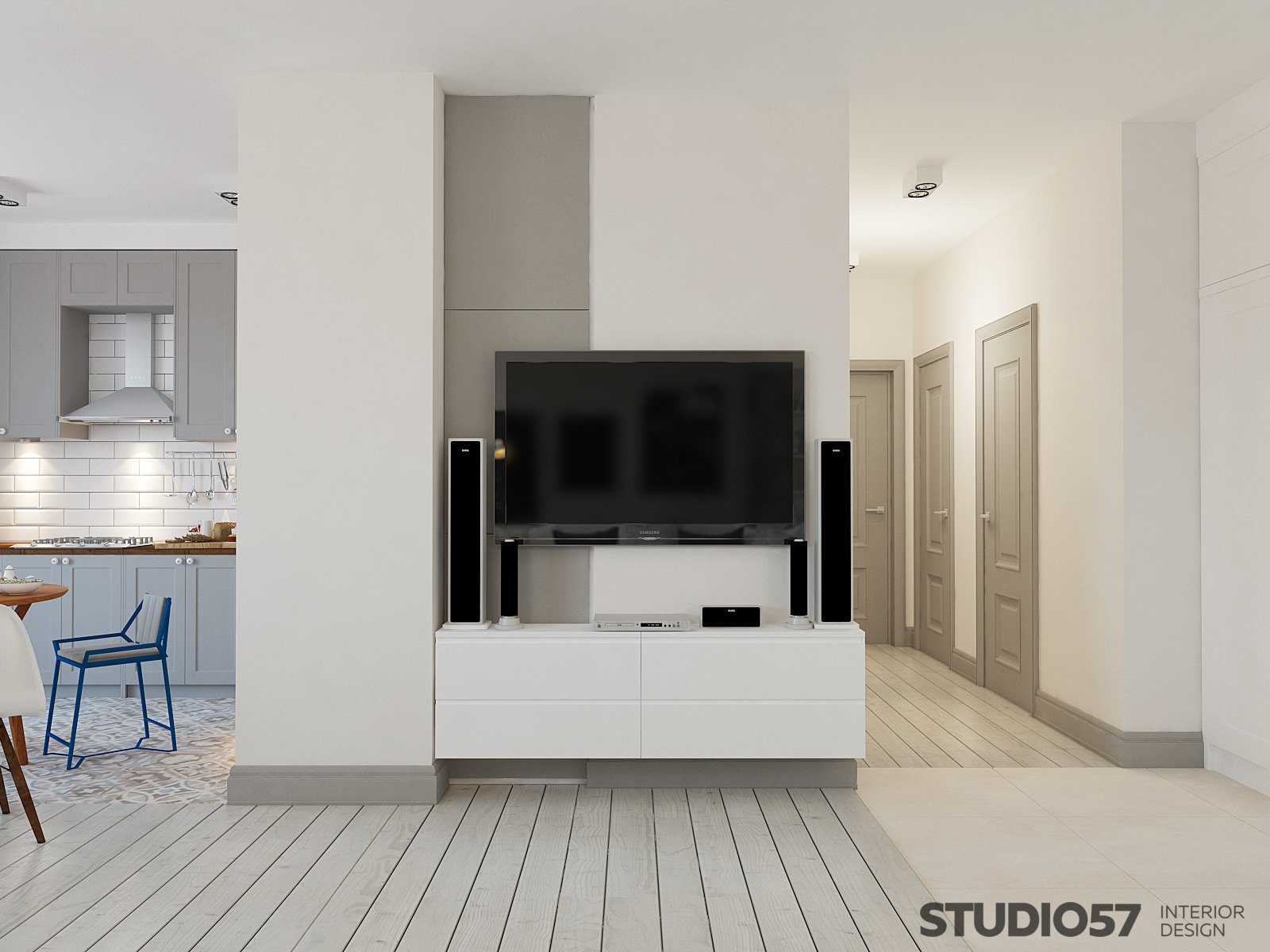 Design of the living room with white lockers photo