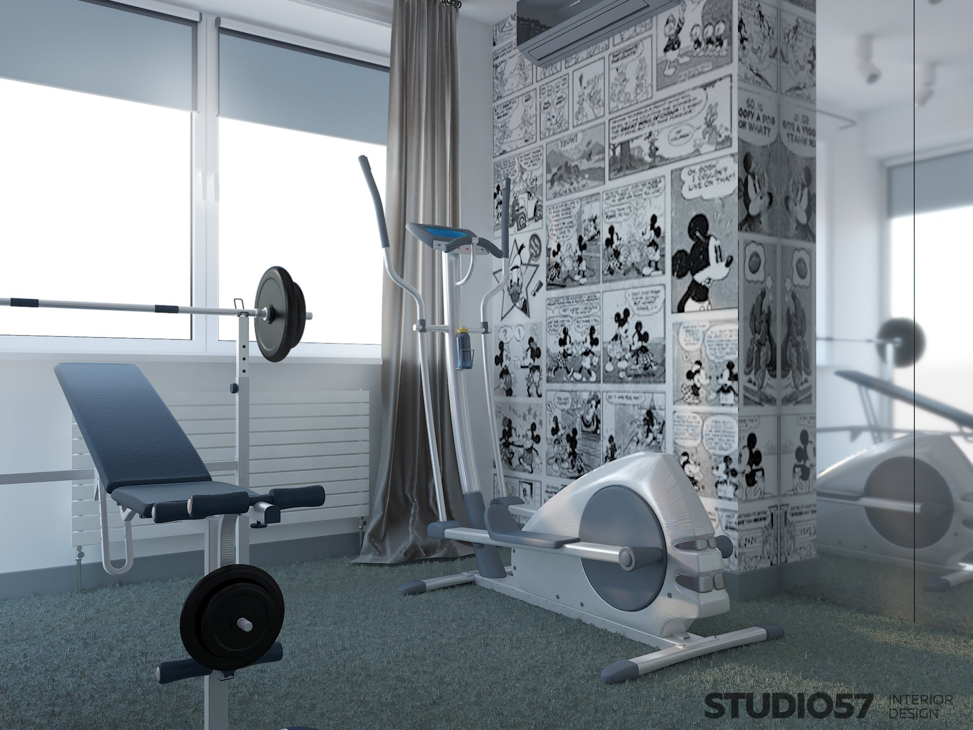 Gym in the apartment Photo