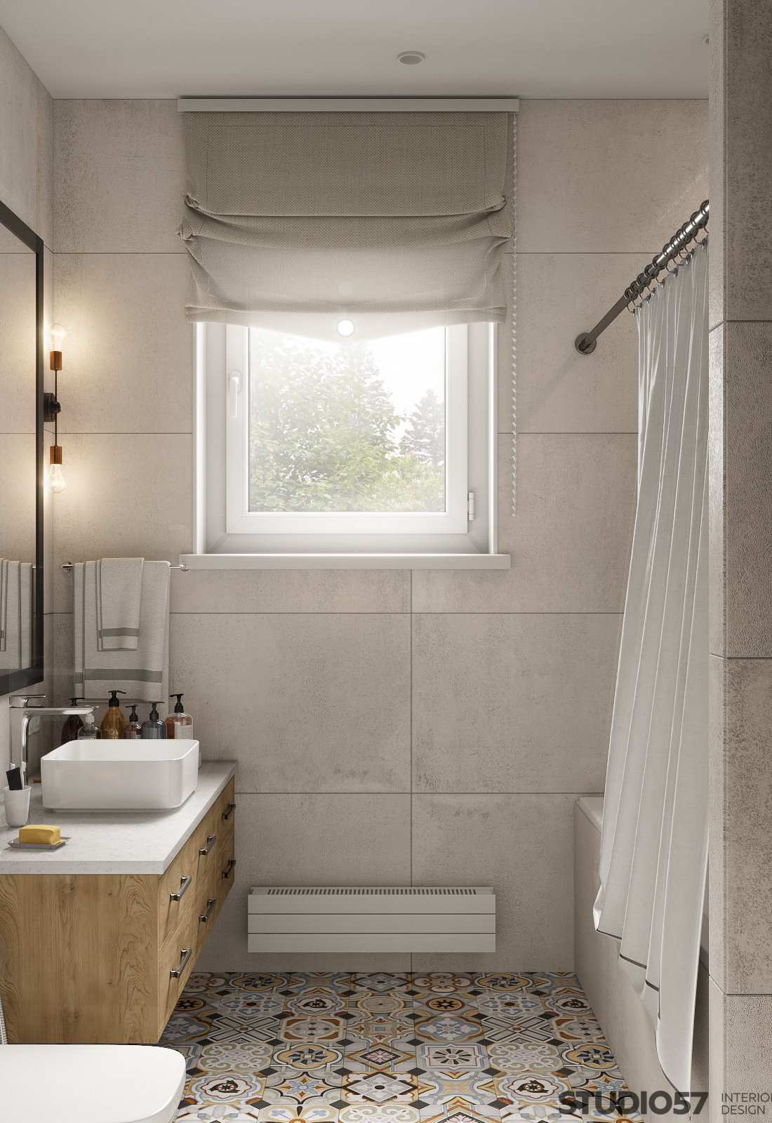 Interior of a light bathroom in Contemporary style photo