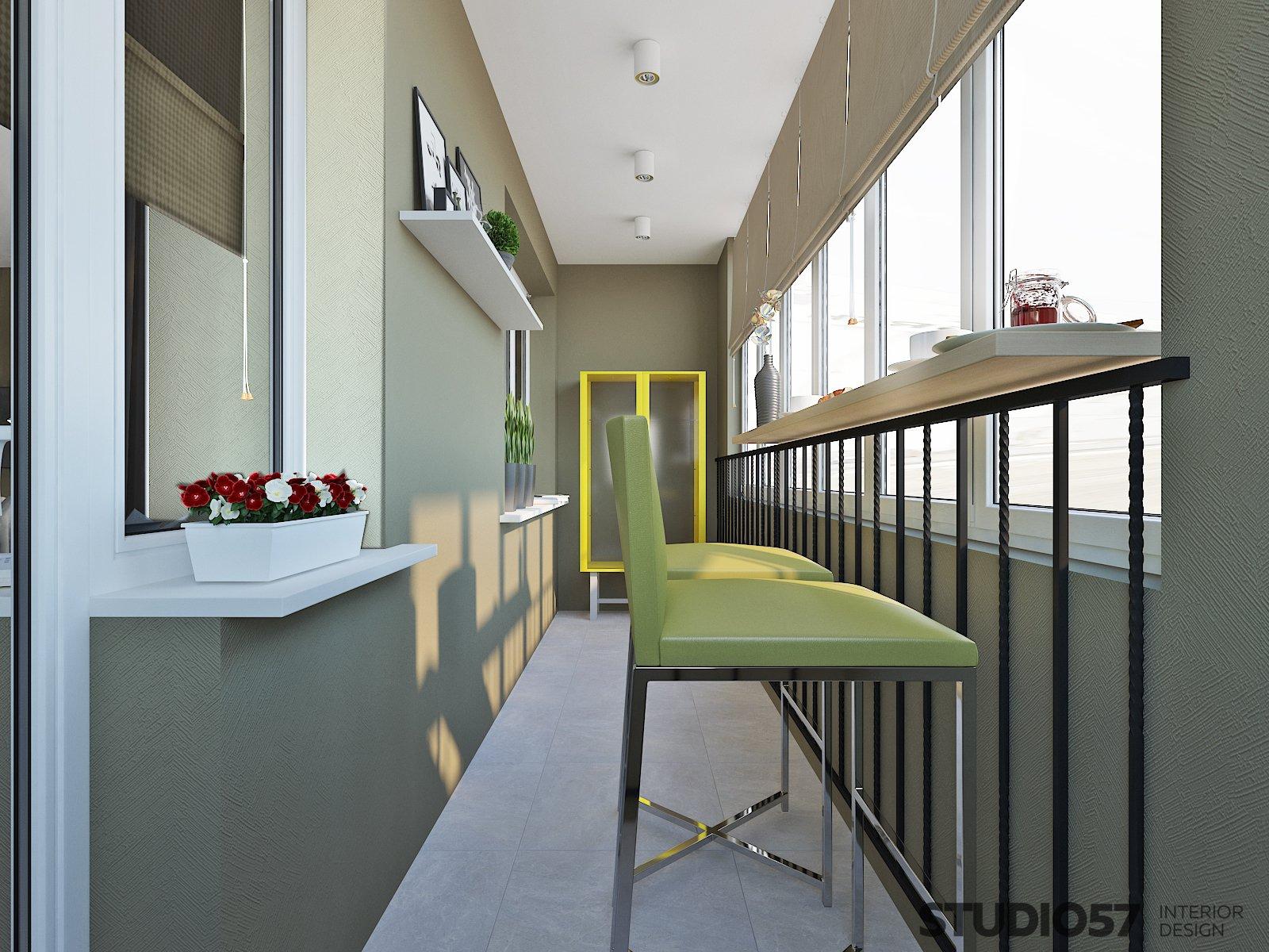 Дизайн лоджии в зелёных оттенках