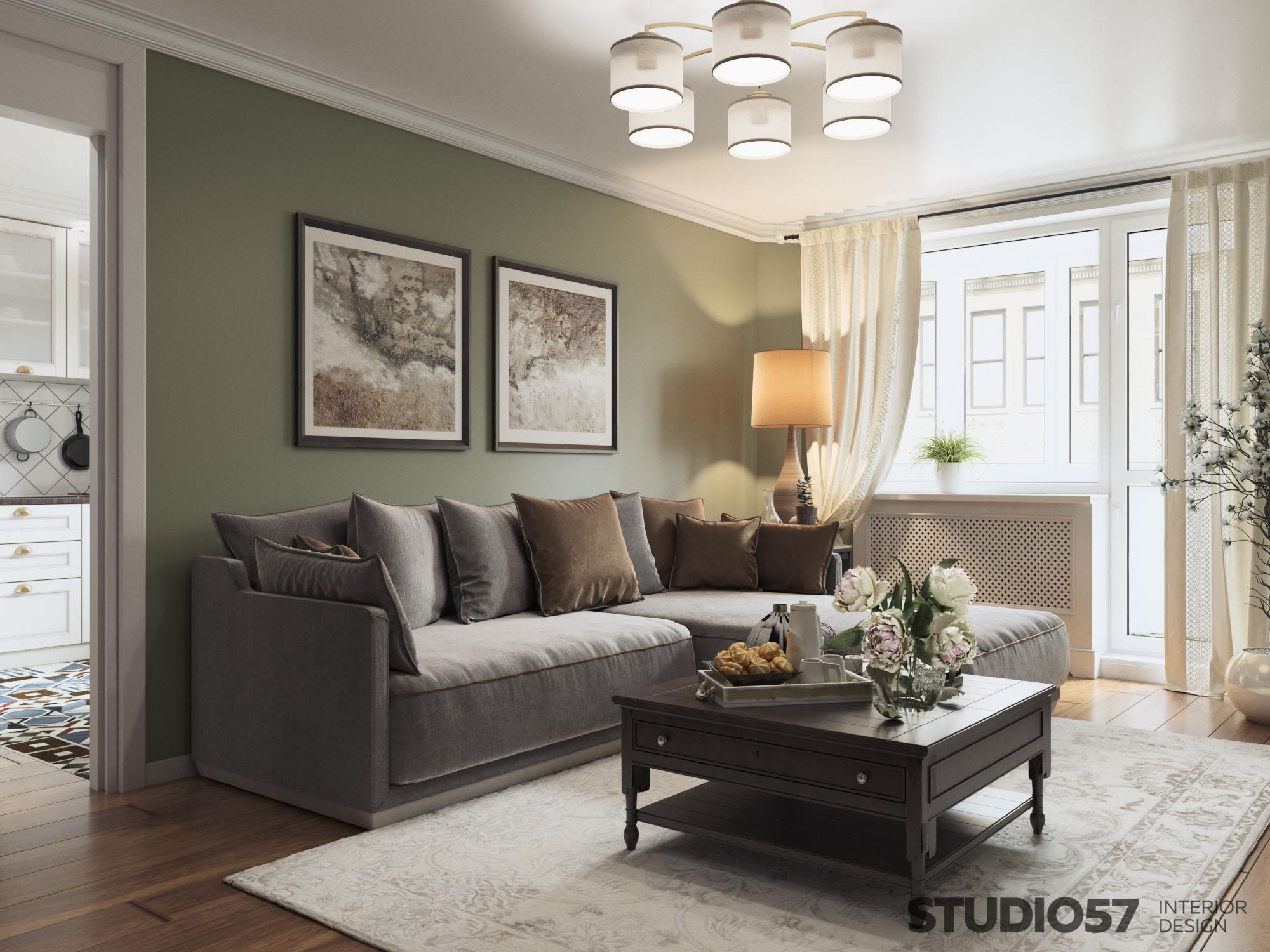Neoclassic apartment interior design photo