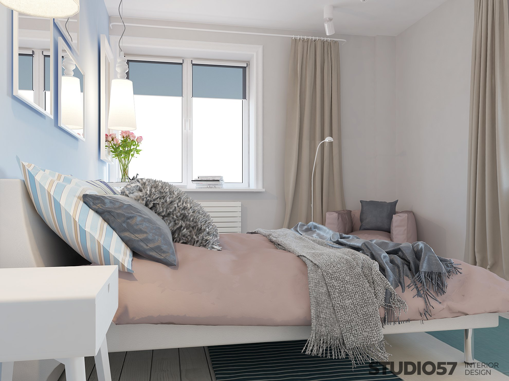 Interior of a fashionable bedroom photo