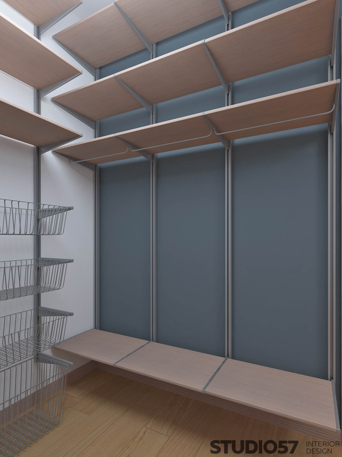 Cloakroom with shelves