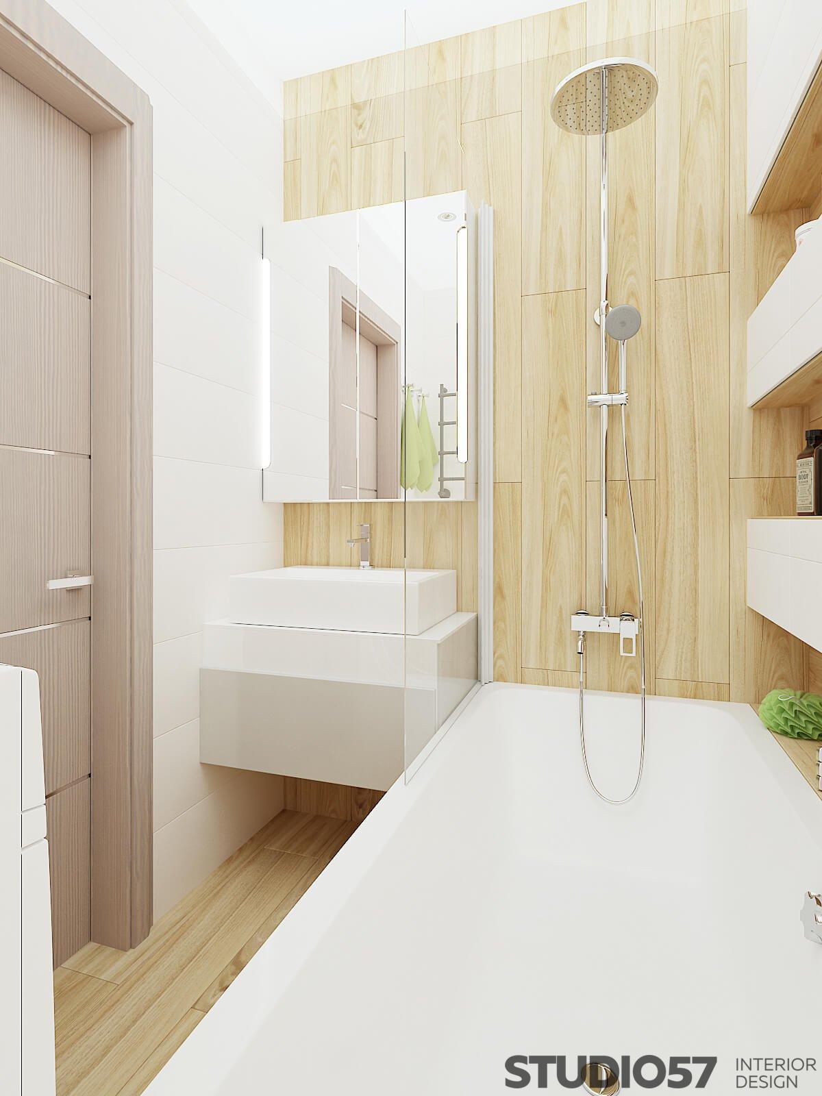 Bathroom interior under light wood