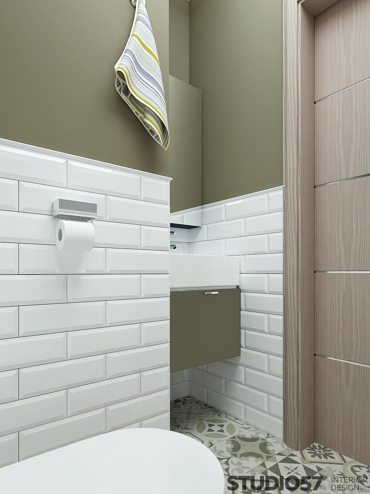 Белая прямоугольная плитка в современном туалете