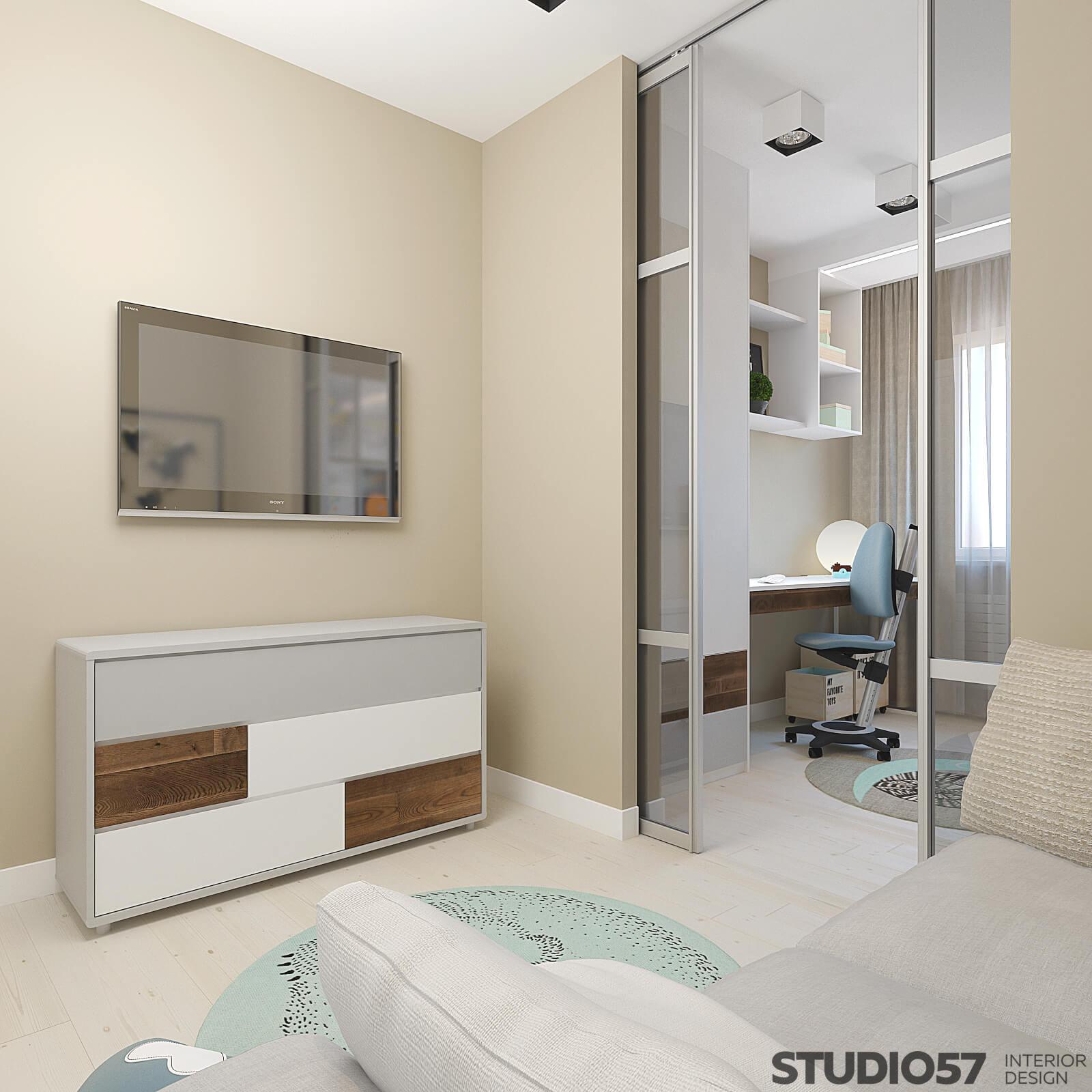 Зеркальные раздвижные двери в комнате