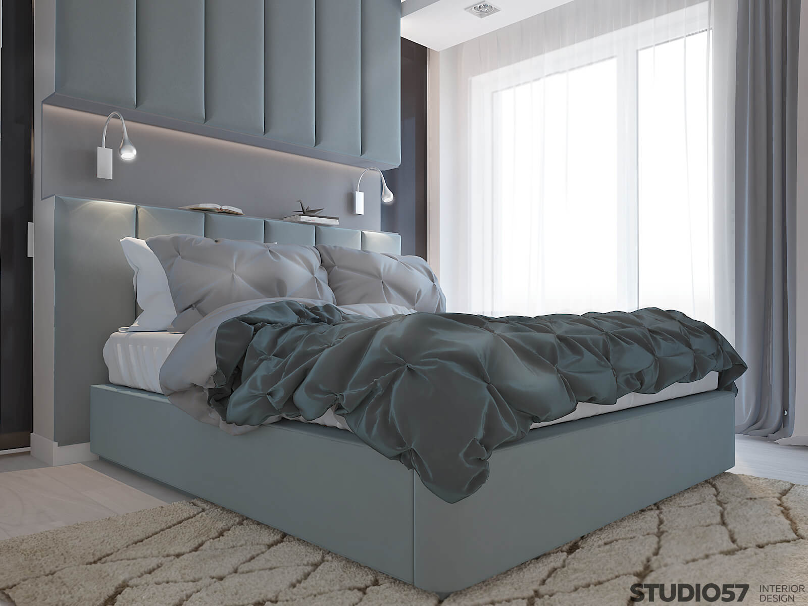 Мягкая кровать в синих оттенках