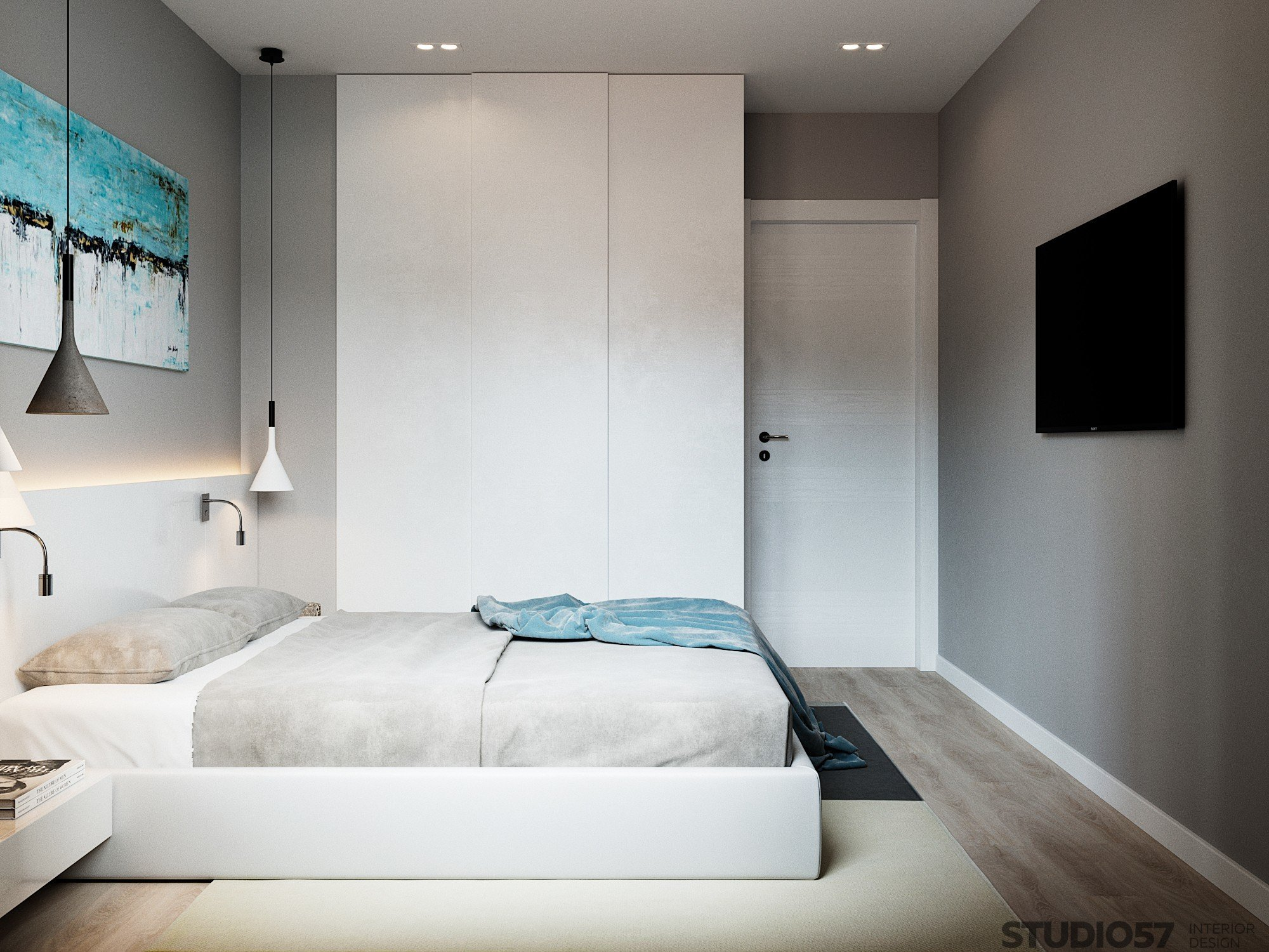 Wardrobe for a small bedroom. Photos