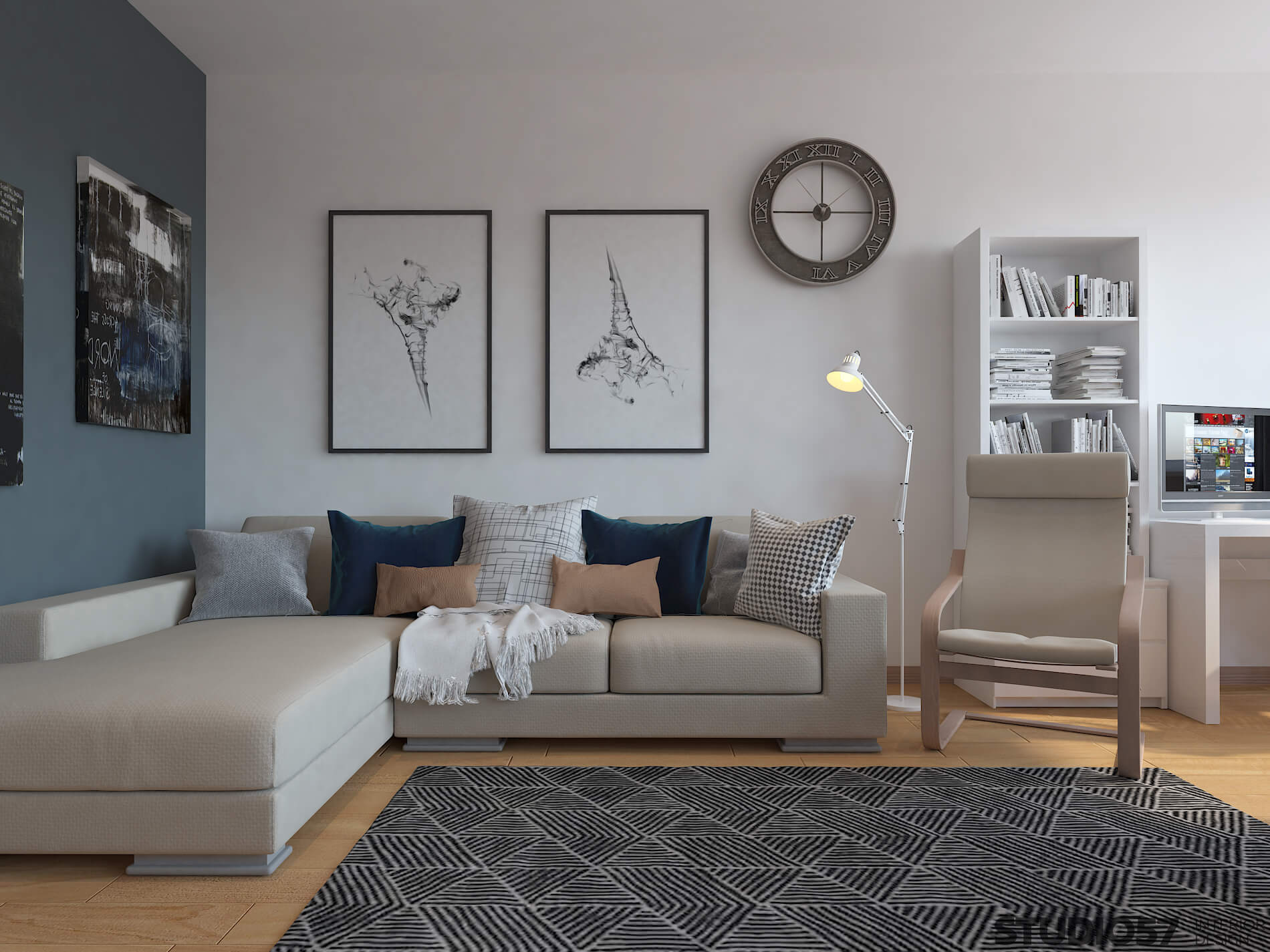 Interior living room with blue walls