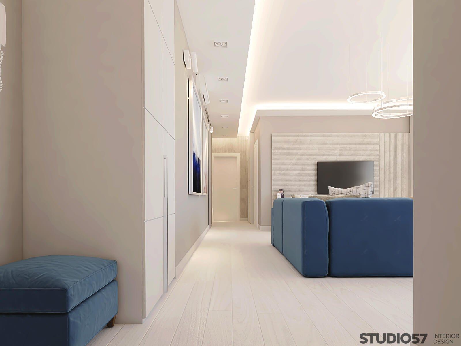 Картинка коридора с видом на гостиную