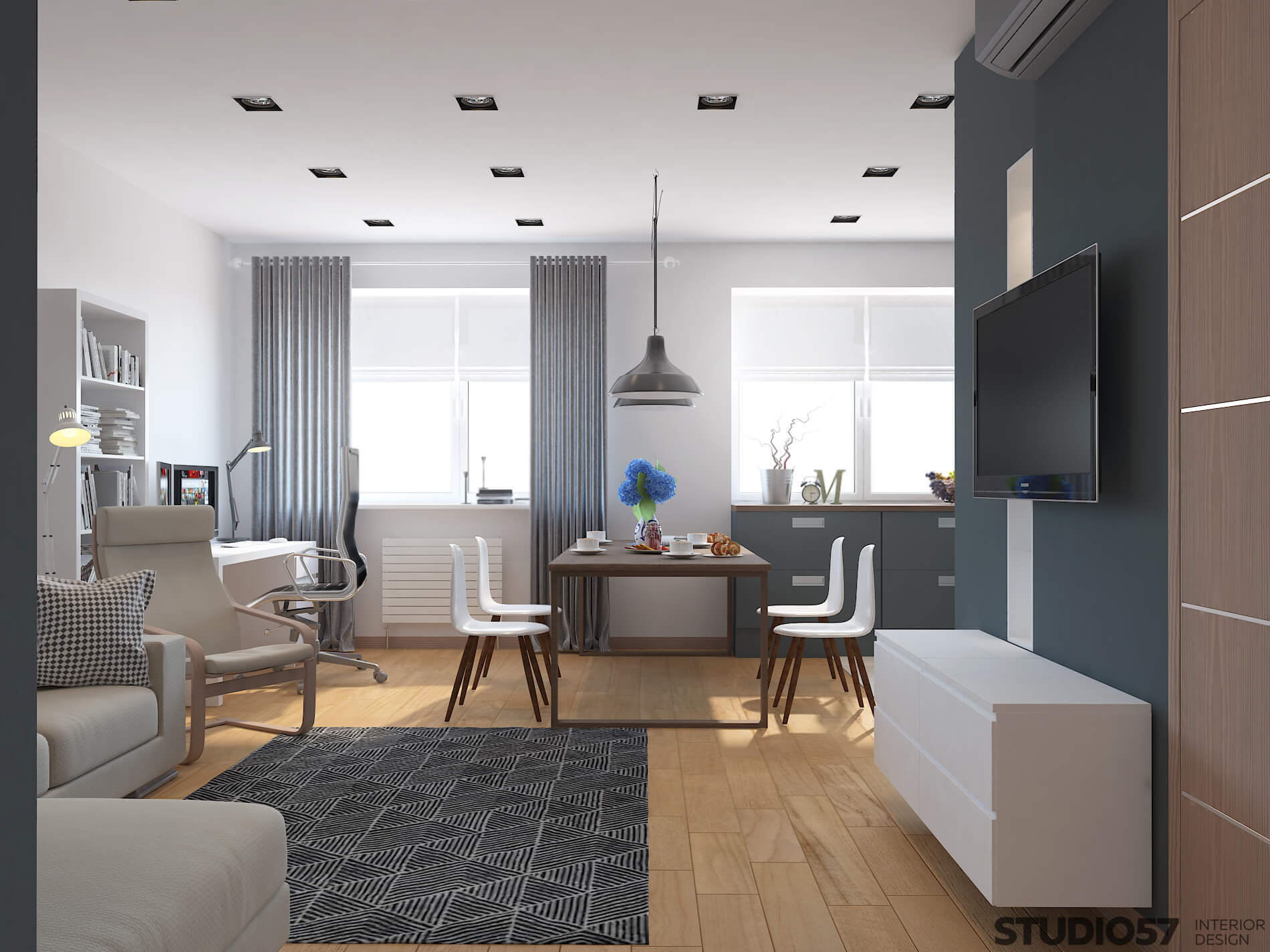 Dining area in the interior of the blue apartment