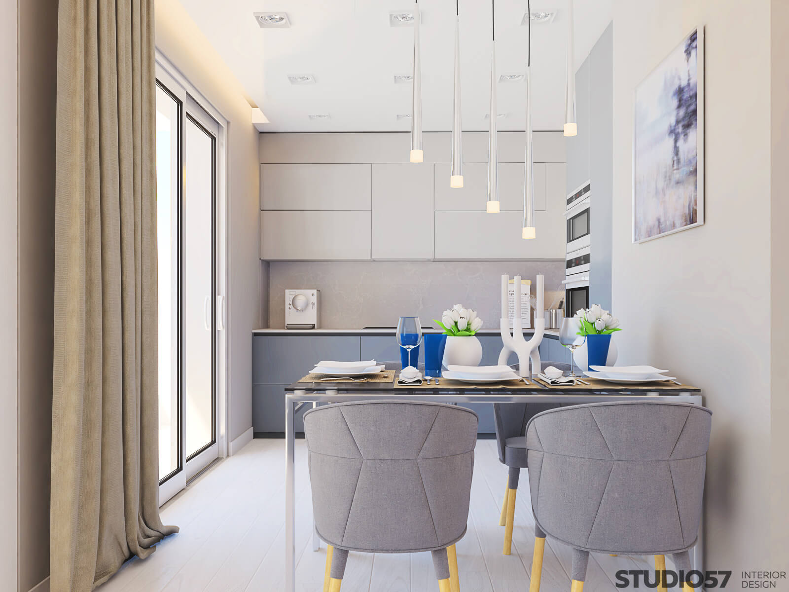 Освещение в кухне в белом цвете