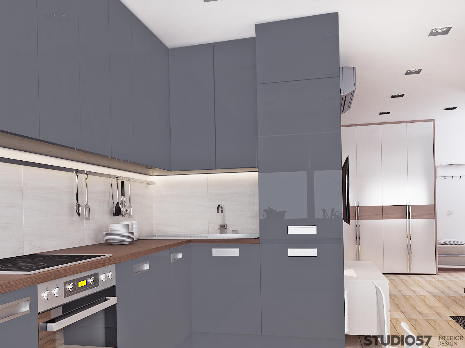 Kitchen design with blue cabinets