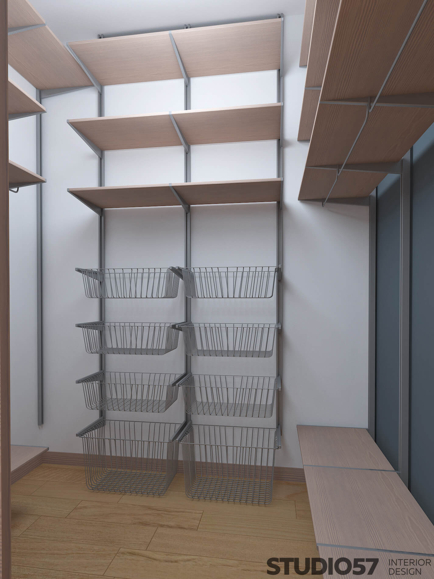 Visualization of a dressing room without cabinets