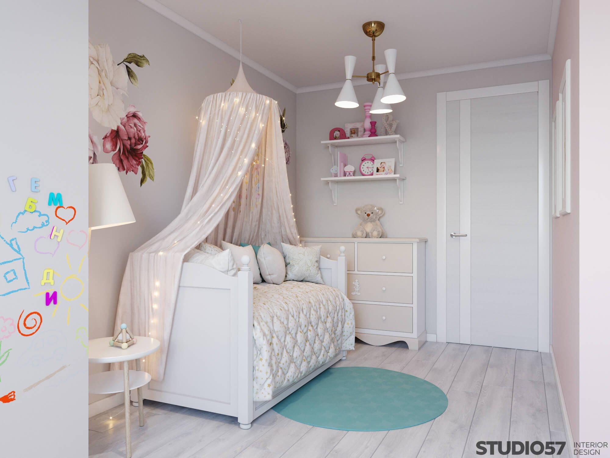 Нежные оттенки в дизайне детской комнаты