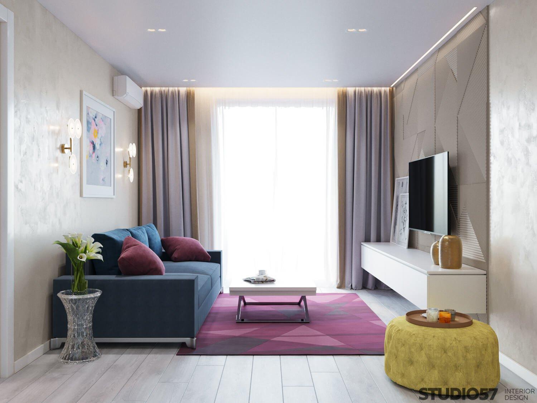 Синие и розовые оттенки в гостиной