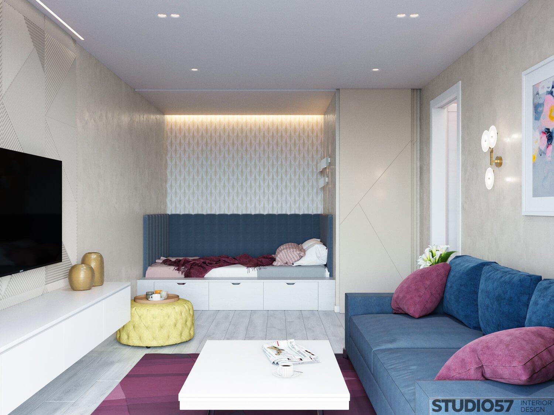 Фото дизайна гостиной с кроватью