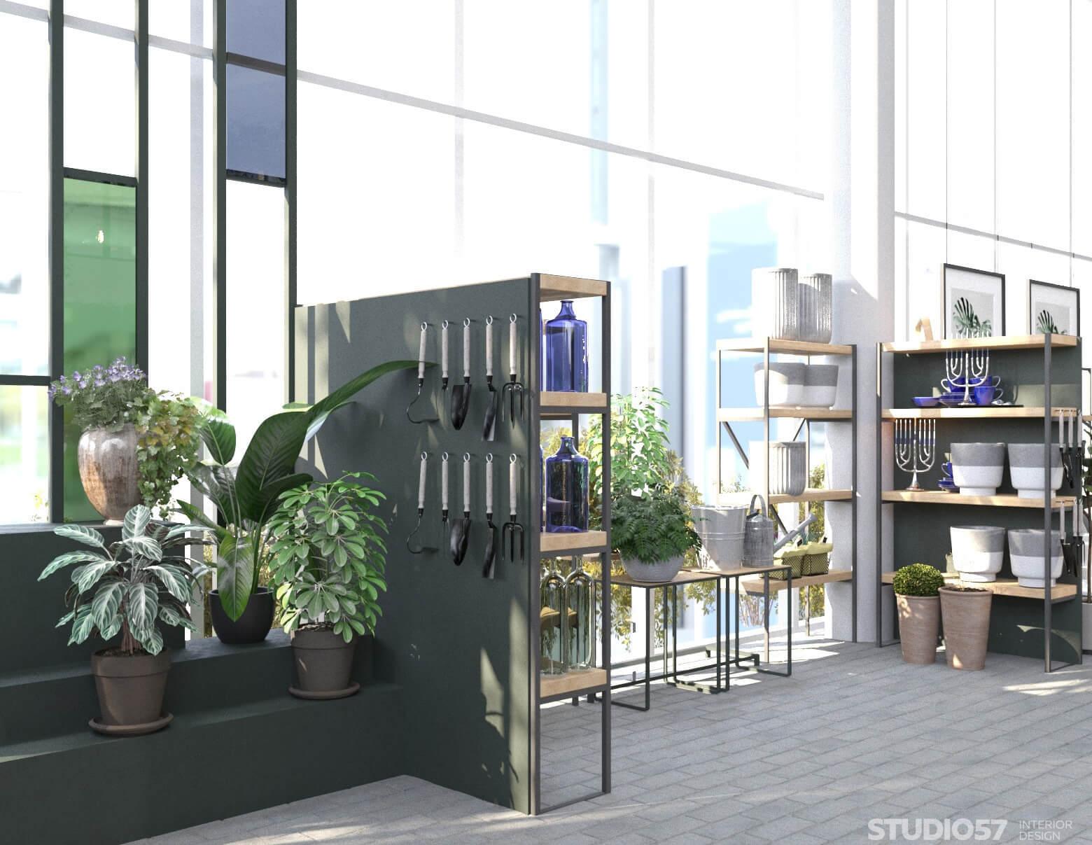 Фото дизайна стелажей в садовом магазине