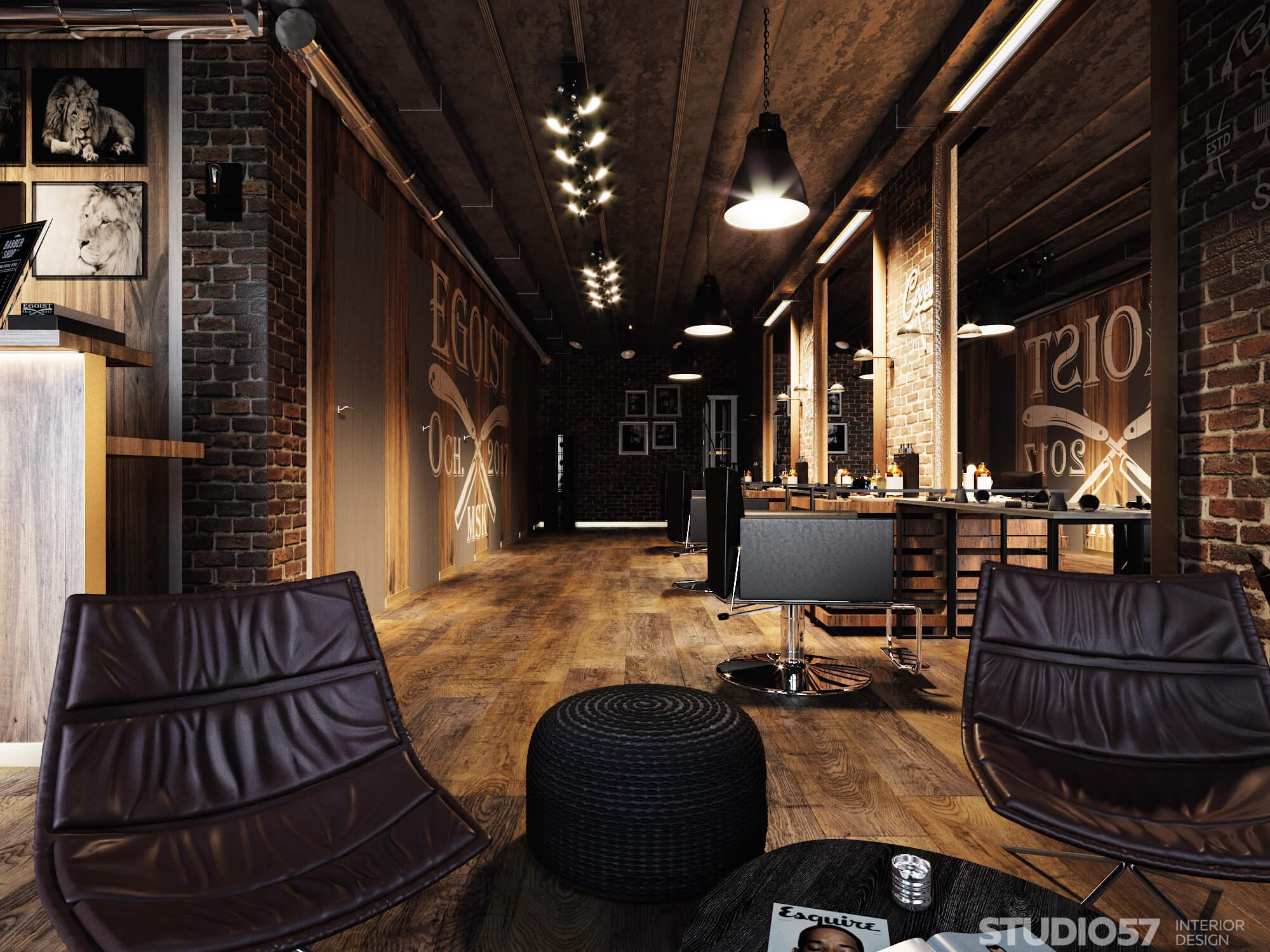 Beautiful interior of the barbershop