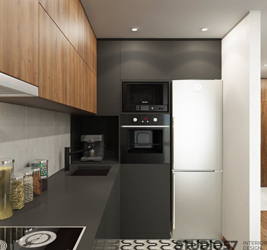 Cupboards without handles in the kitchen