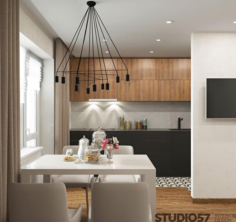 Photo of white kitchen with dark wood
