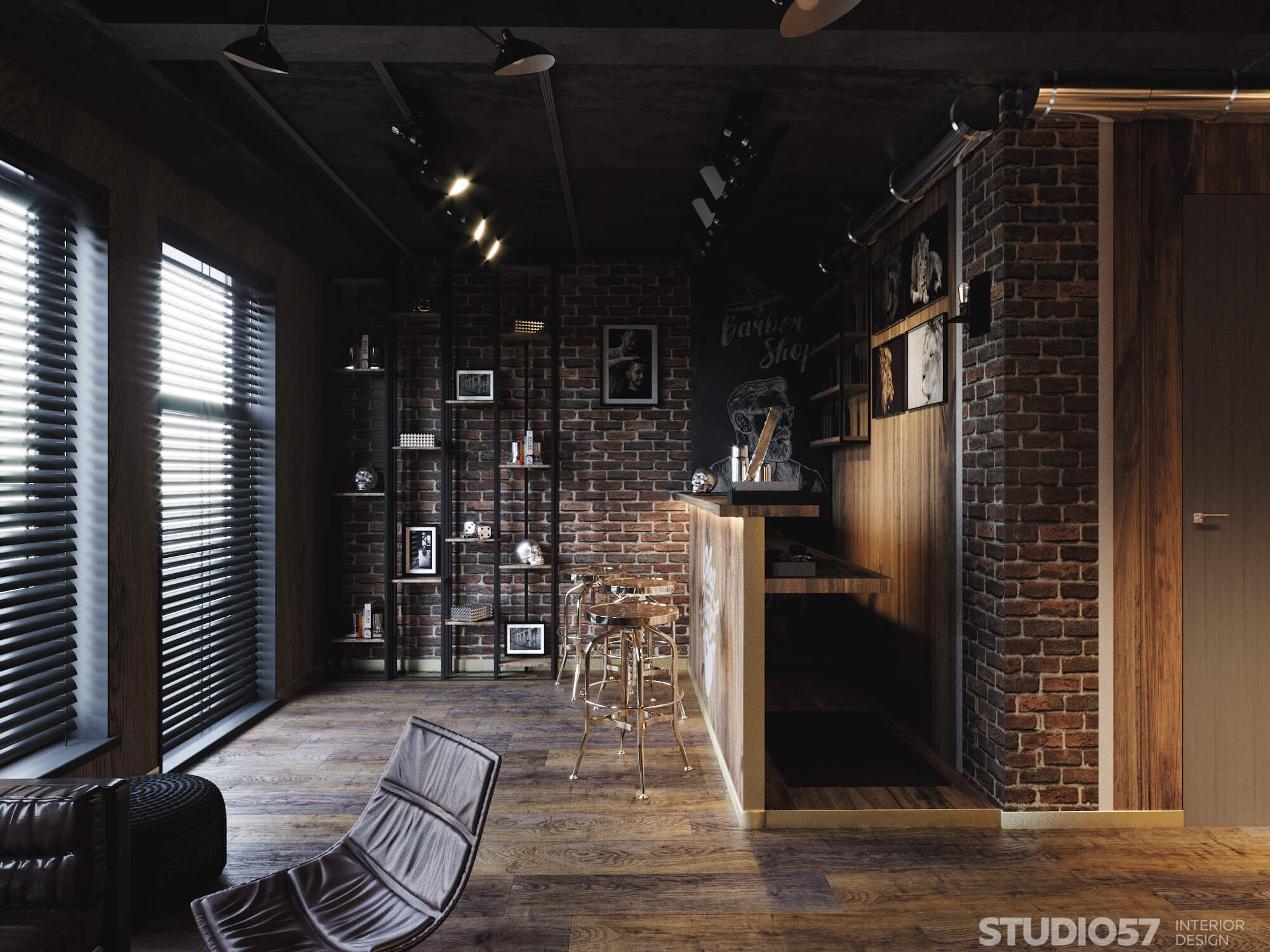 Male hall in hairdressing salon interior design photo