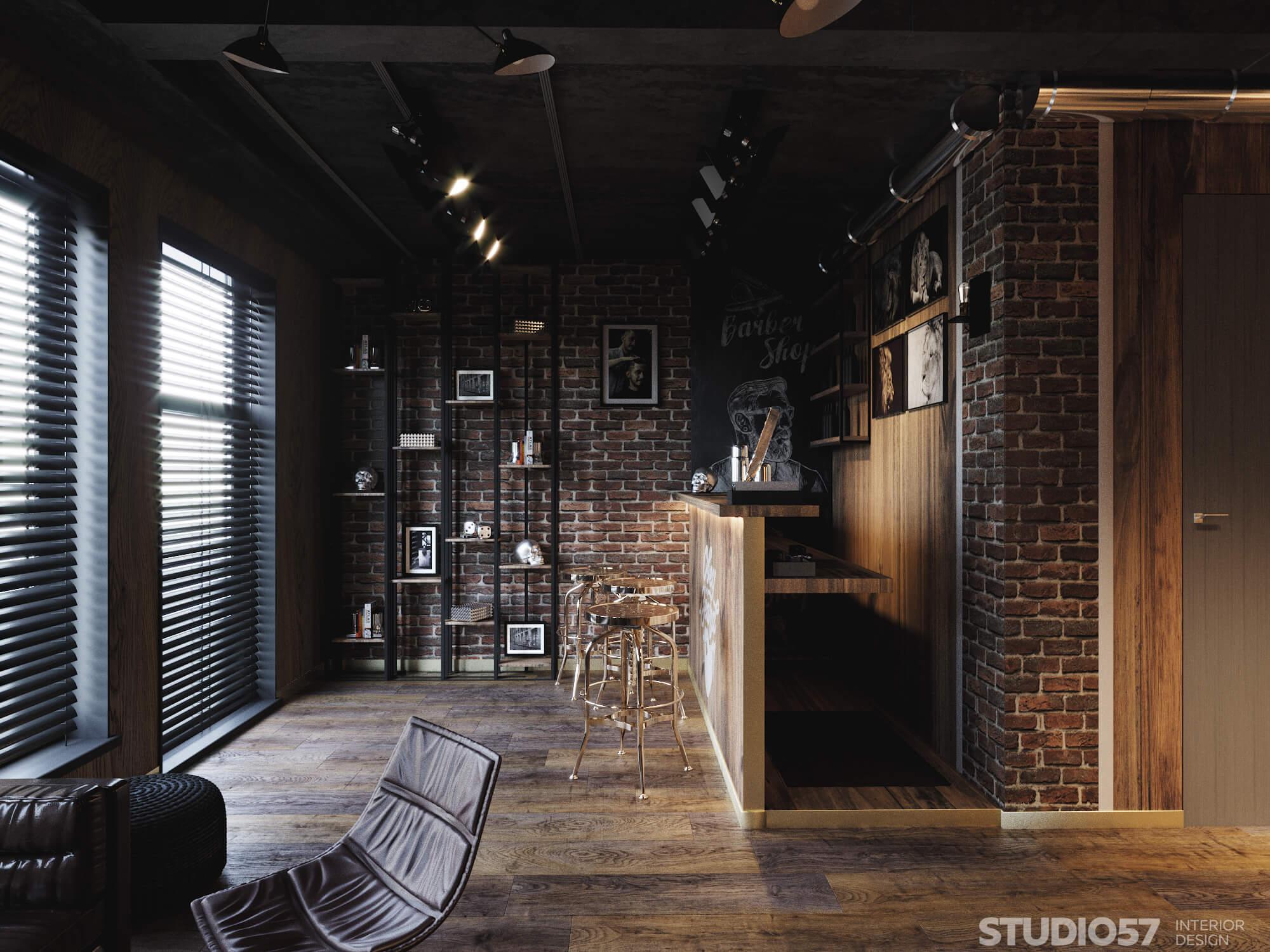 Мужской зал в парикмахерских дизайн интерьера фото