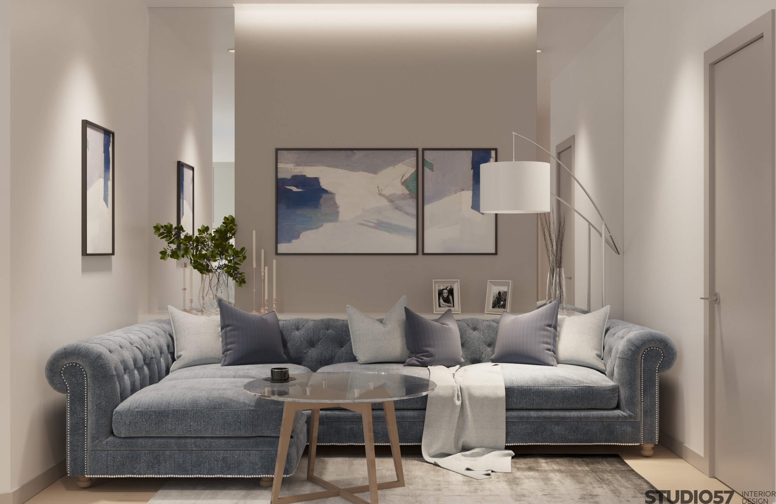 How to combine white and blue in the interior