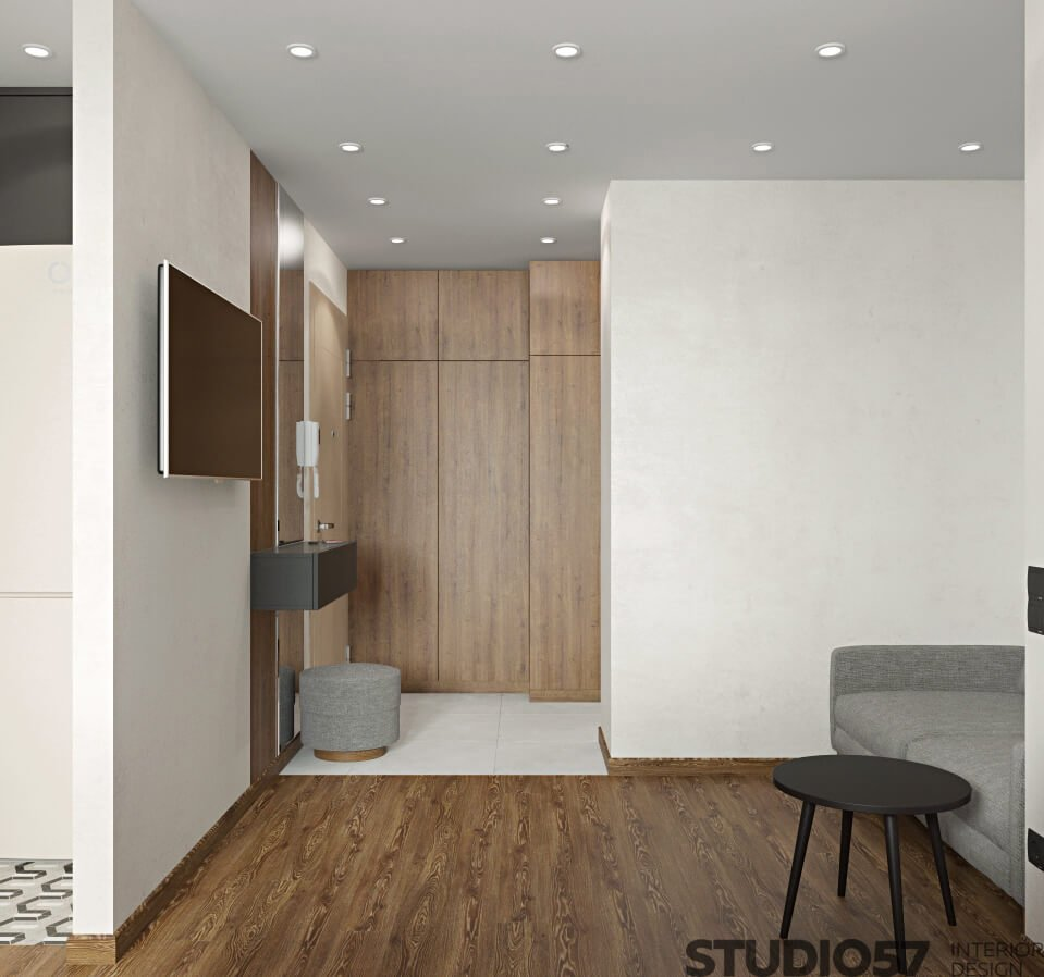 Wooden floor in the apartment photo