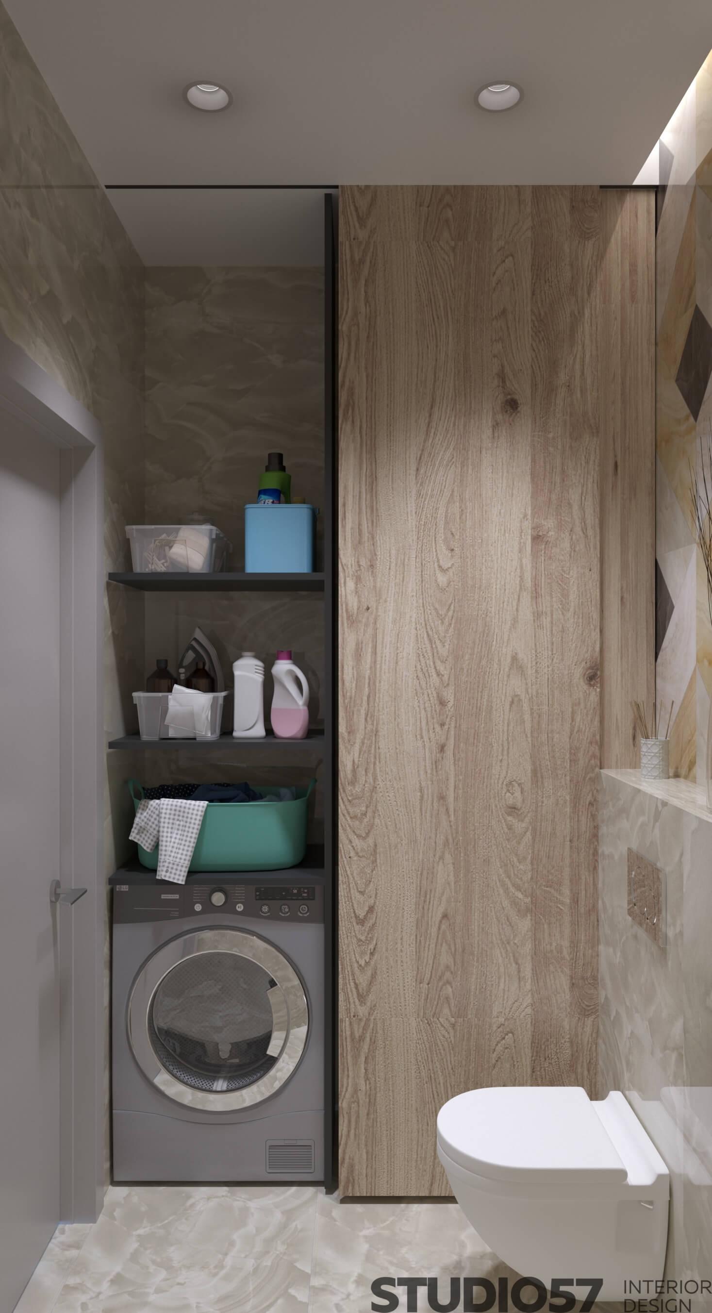Washing machine in the bathroom photo