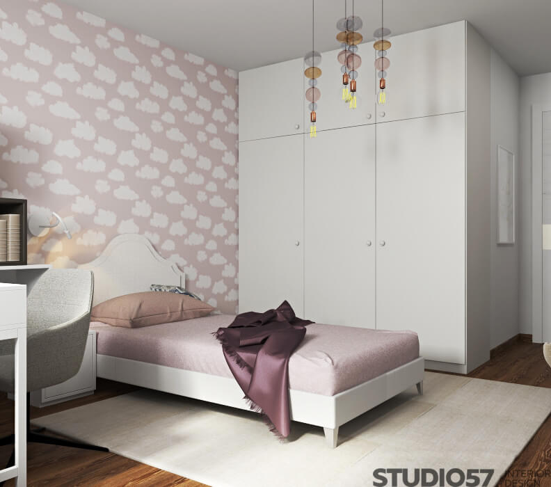 Wallpaper with clouds in the nursery