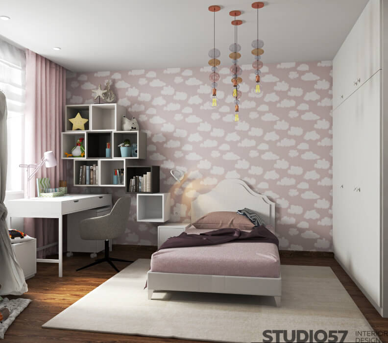 Spacious children's room for girls