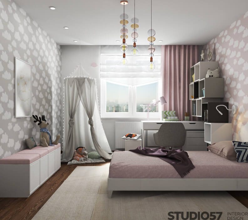 Beautiful baby room in pink color
