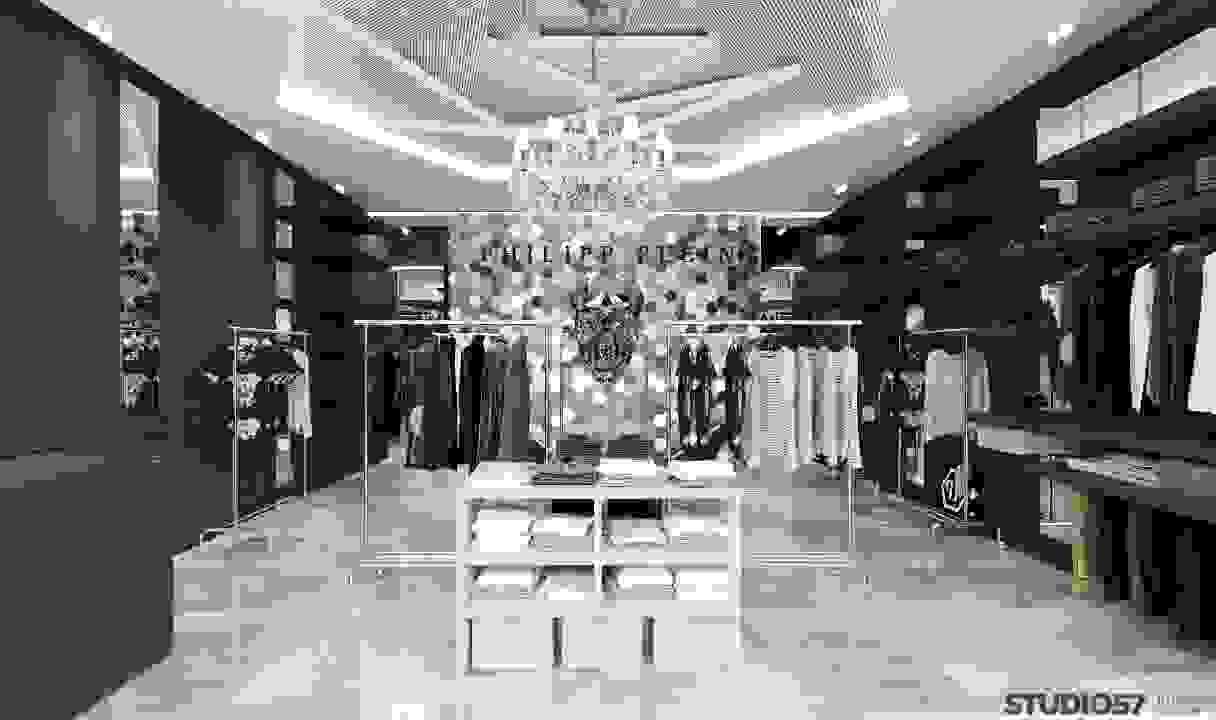 Interior clothing store in black and white shades