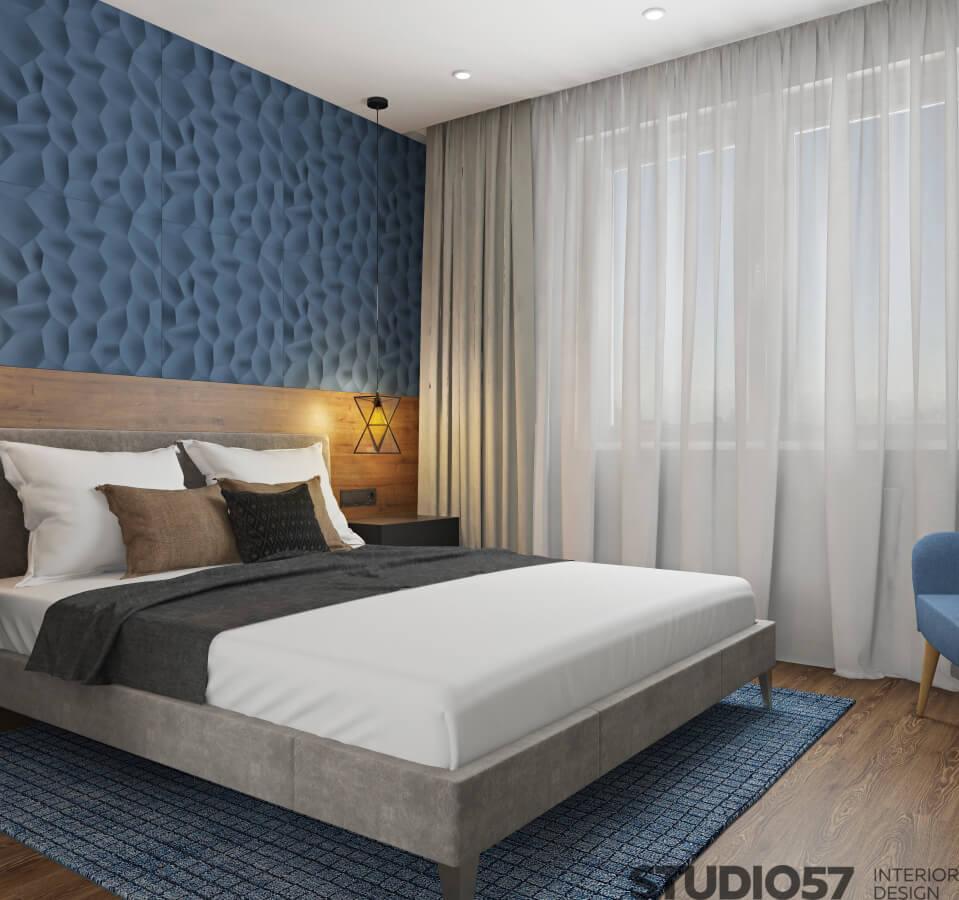 3D wallpaper in the bedroom