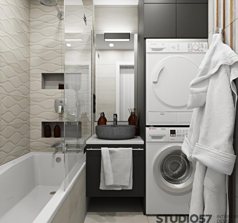 Black and white bathroom interior design photo
