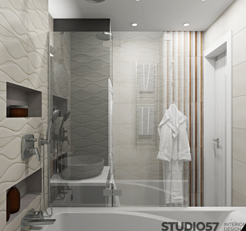 An example of a bathroom with appliances