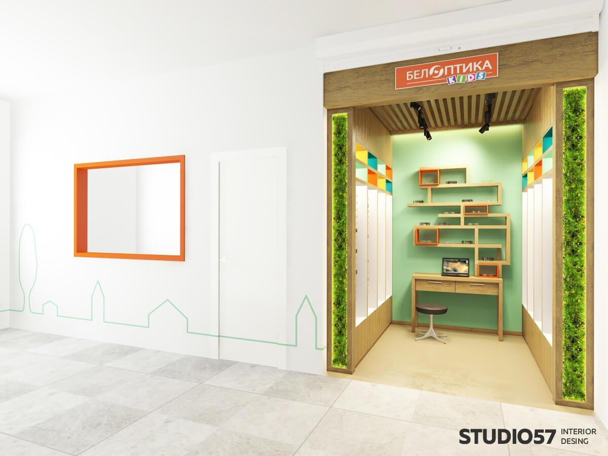 Дизайн интерьера магазина оптики