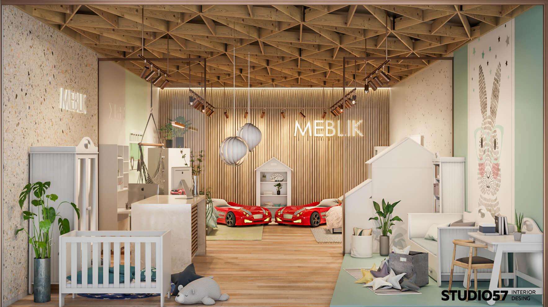 Дизайн интерьера магазина детской мебели