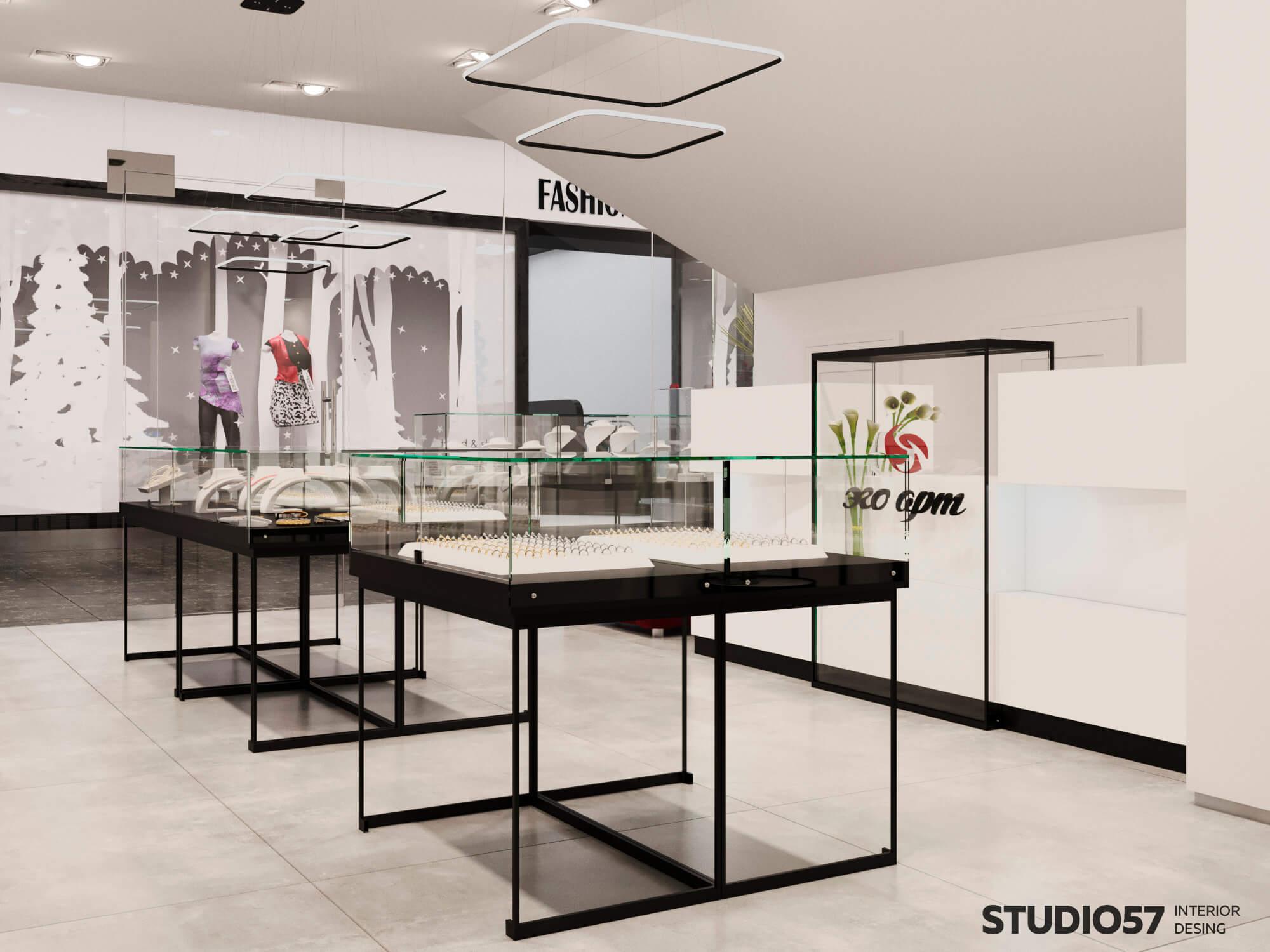 Черно белый интерьер магазина ювелирных изделий фото
