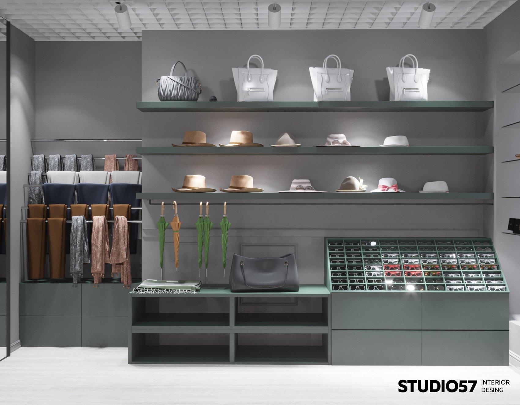 Интерьер магазина в серый