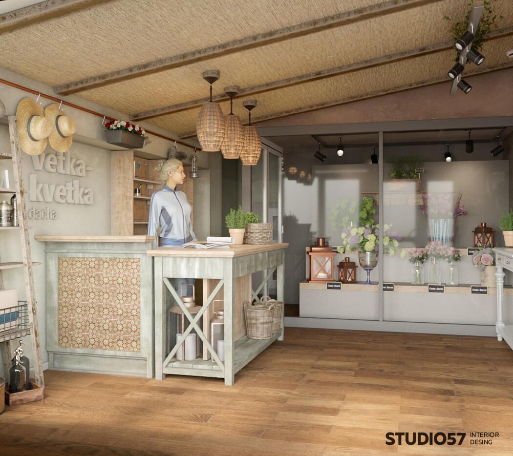 Дизайн кассы в цветочном магазине