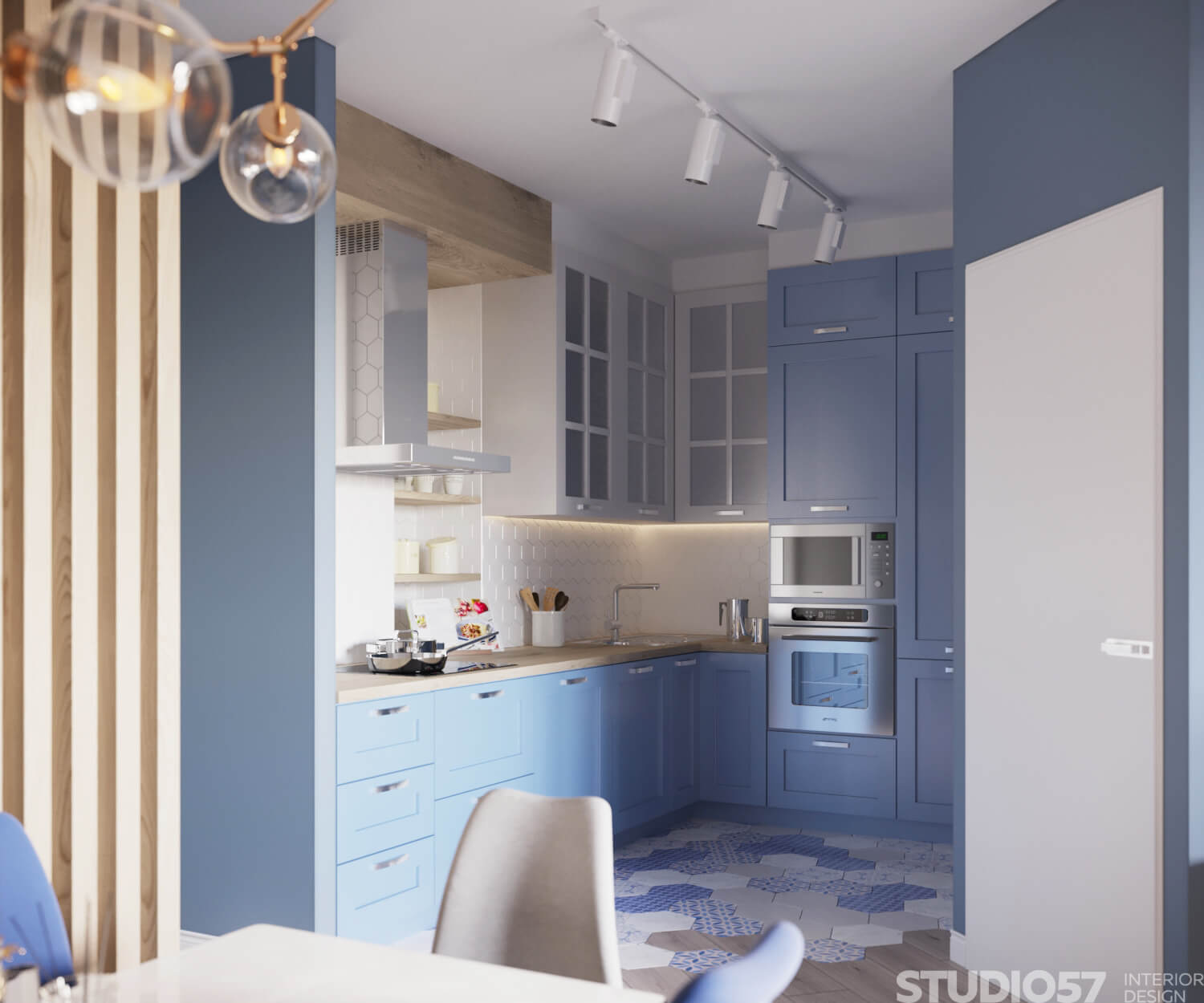 Kitchen design for a one-room apartment