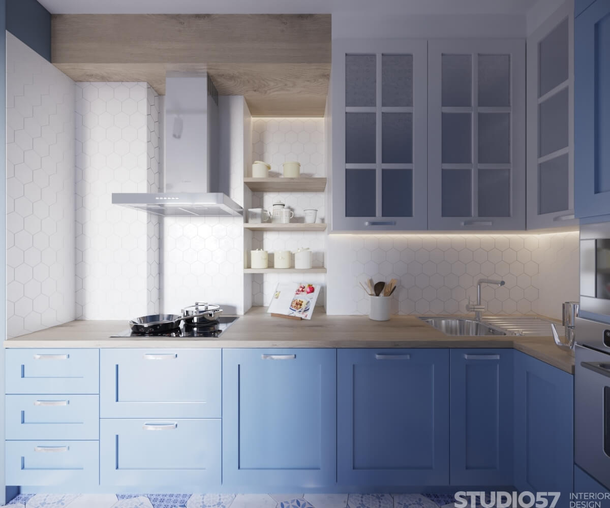 Design a narrow kitchen in a small apartment