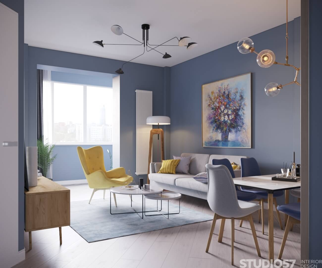 How to combine blue and yellow in the interior