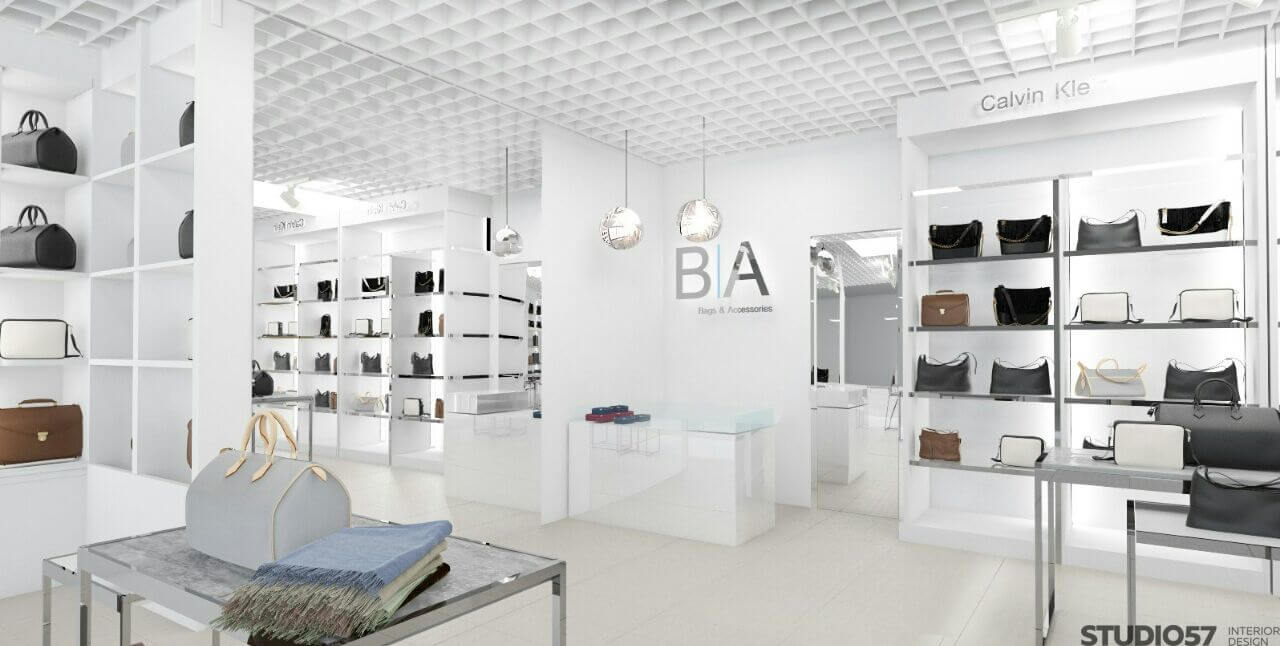 Дизайн интерьера магазина сумок в светлых тонах
