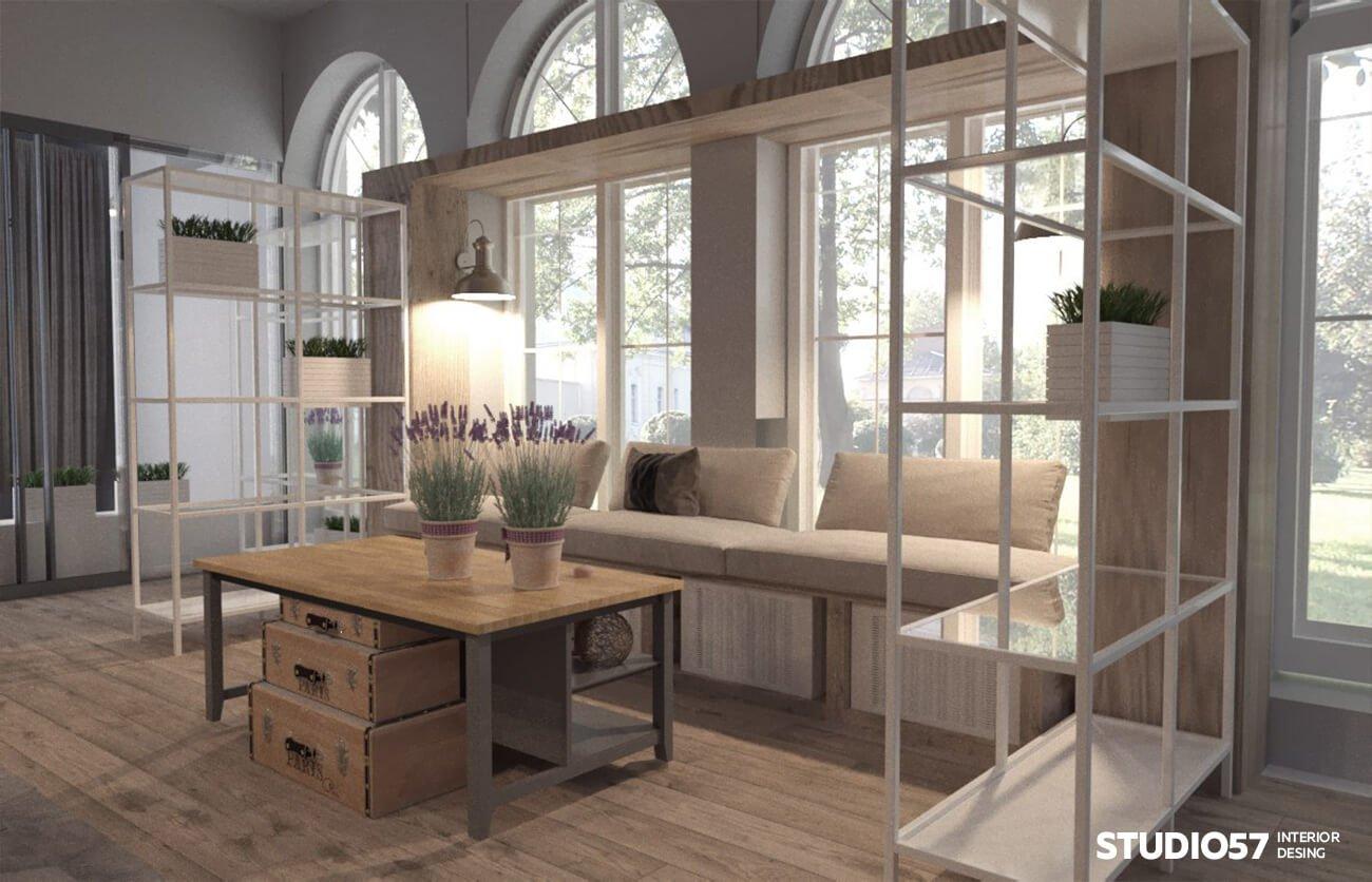 Полки и мебель в дизайне цветочного магазина