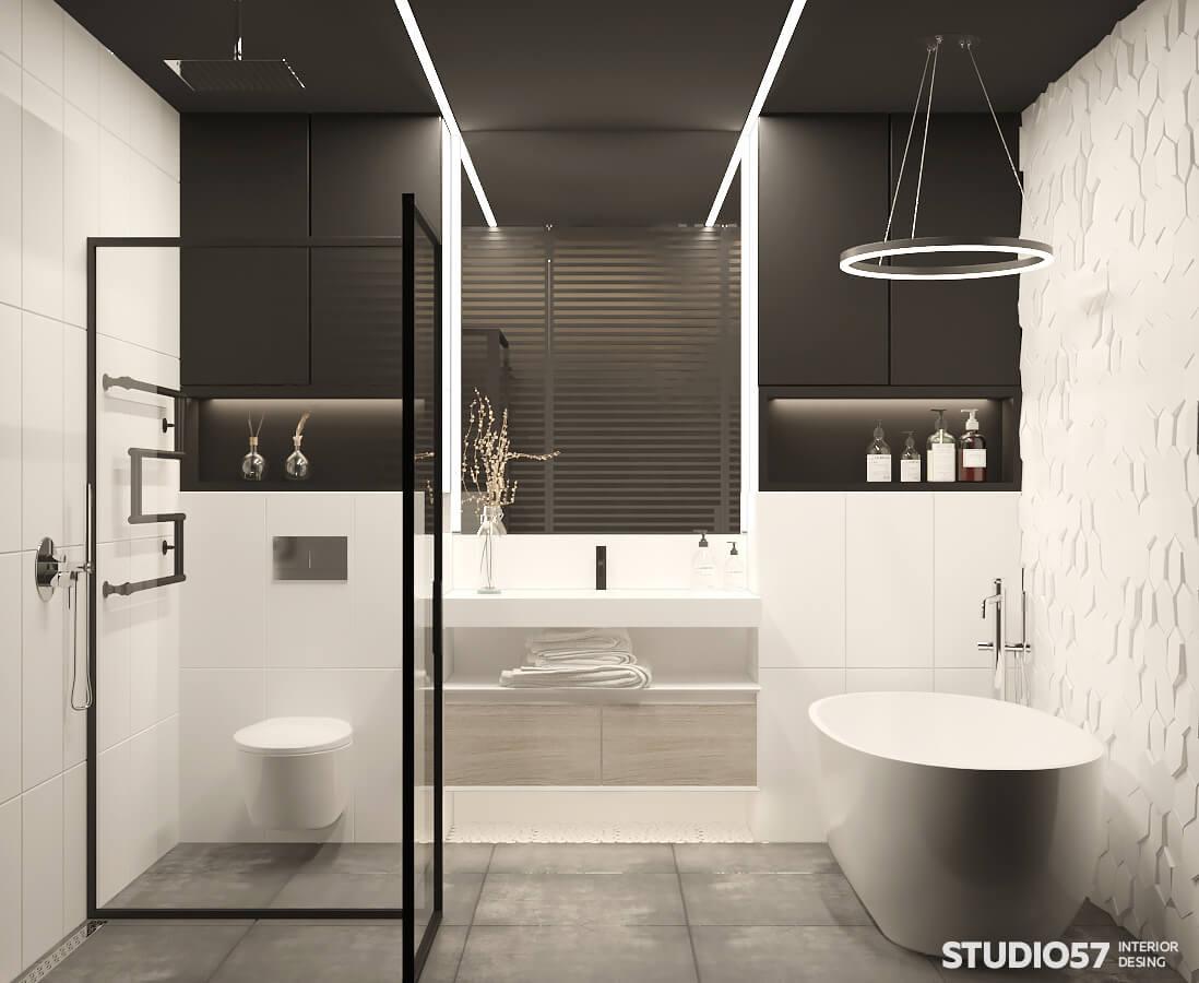 Loft style bathroom interior