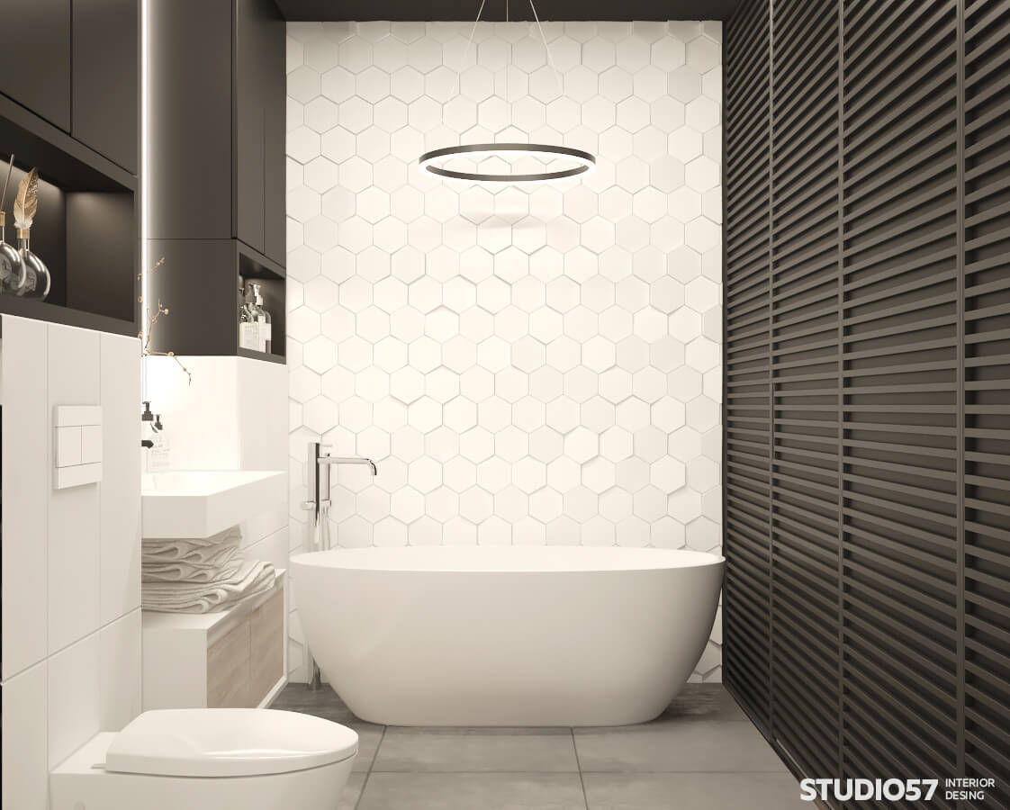Photo of black and white bathroom interior
